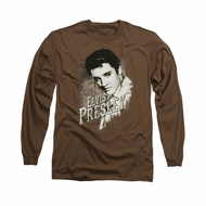 Elvis Presley Shirt Rugged Long Sleeve Brown Tee T-Shirt