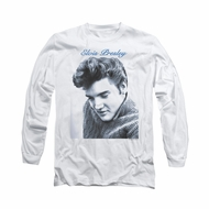 Elvis Presley Shirt Script Sweater Long Sleeve White Tee T-Shirt