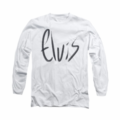 Elvis Presley Shirt Sketchy Name Long Sleeve White Tee T-Shirt