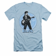 Elvis Presley Shirt Slim Fit 45 RPM Light Blue T-Shirt