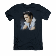 Elvis Presley Shirt Slim Fit Blue Profile Navy T-Shirt