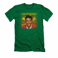 Elvis Presley Shirt Slim Fit Gold Records Kelly Green T-Shirt