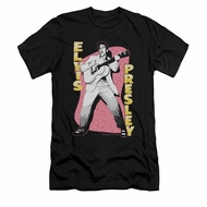 Elvis Presley Shirt Slim Fit Pink Rock Black T-Shirt