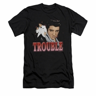 Elvis Presley Shirt Slim Fit Trouble In A White Suit Black T-Shirt