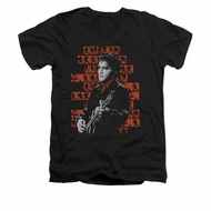 Elvis Presley Shirt Slim Fit V-Neck 1968 Black T-Shirt