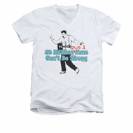 Elvis Presley Shirt Slim Fit V-Neck 50 Million Fans Plus 1 White T-Shirt