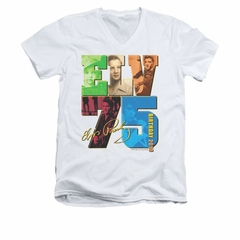 Elvis Presley Shirt Slim Fit V-Neck 75 Year Birthday White T-Shirt