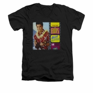 Elvis Presley Shirt Slim Fit V-Neck Blue Hawaii Album Black T-Shirt