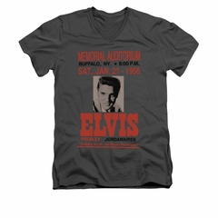 Elvis Presley Shirt Slim Fit V-Neck Buffalo 1956 Charcoal T-Shirt
