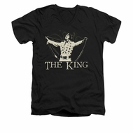 Elvis Presley Shirt Slim Fit V-Neck Cape Black T-Shirt