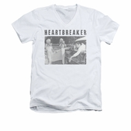 Elvis Presley Shirt Slim Fit V-Neck Heartbreaker White T-Shirt