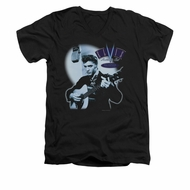 Elvis Presley Shirt Slim Fit V-Neck Hillbilly Cat Black T-Shirt
