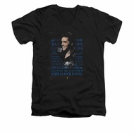 Elvis Presley Shirt Slim Fit V-Neck Icon Black T-Shirt