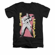 Elvis Presley Shirt Slim Fit V-Neck Pink Rock Black T-Shirt