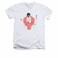 Elvis Presley Shirt Slim Fit V-Neck Red Pheonix White T-Shirt