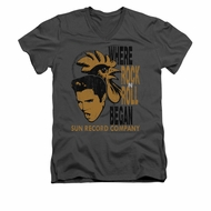 Elvis Presley Shirt Slim Fit V-Neck Rooster Charcoal T-Shirt