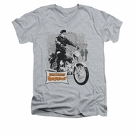 Elvis Presley Shirt Slim Fit V-Neck Roustabout Athletic Heather T-Shirt