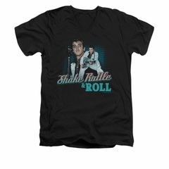 Elvis Presley Shirt Slim Fit V-Neck Shake Rattle And Roll Black T-Shirt
