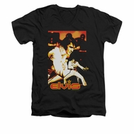 Elvis Presley Shirt Slim Fit V-Neck Showman Black T-Shirt