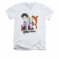 Elvis Presley Shirt Slim Fit V-Neck Speedway White T-Shirt