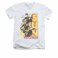 Elvis Presley Shirt Slim Fit V-Neck Sun Records Soundtrack White T-Shirt