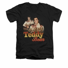 Elvis Presley Shirt Slim Fit V-Neck Teddy Bears Black T-Shirt