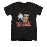 Elvis Presley Shirt Slim Fit V-Neck Trouble In A White Suit Black T-Shirt