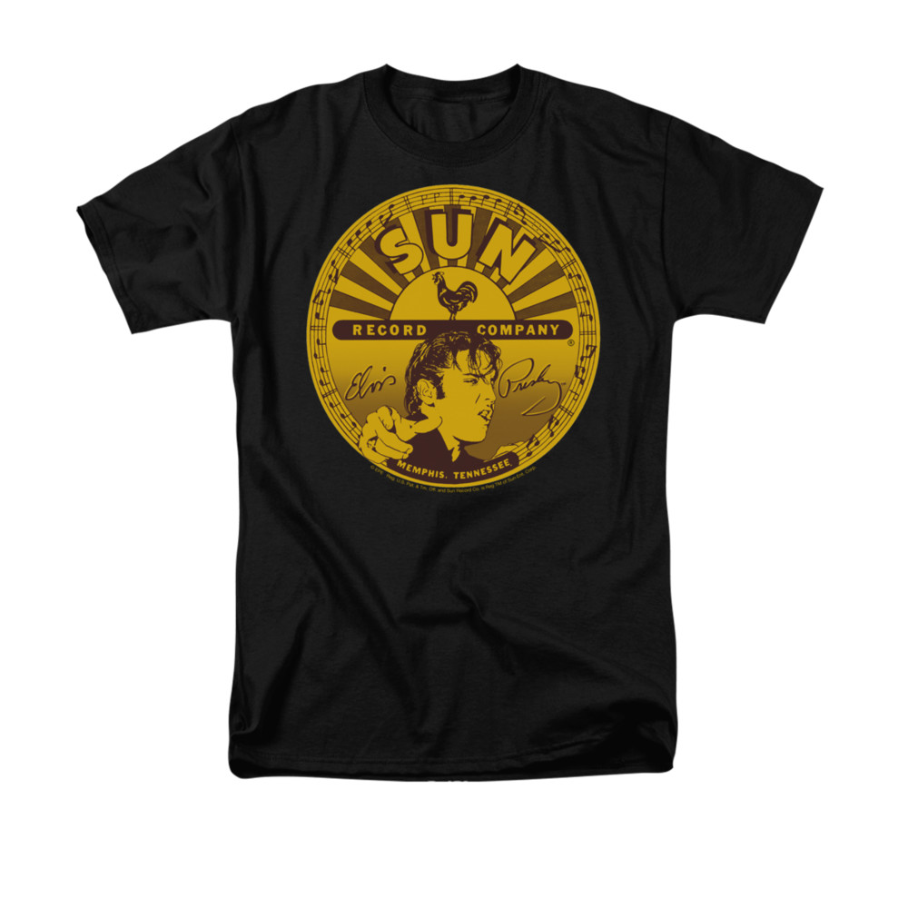 Elvis presley shirt sun records full logo black t shirt for Full black t shirt