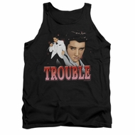 Elvis Presley Shirt Tank Top Trouble In A White Suit Black Tanktop