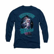 Elvis Presley Shirt Total Trouble Soundtrack Long Sleeve Navy Tee T-Shirt