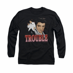 Elvis Presley Shirt Trouble In A White Suit Long Sleeve Black Tee T-Shirt