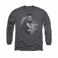 Elvis Presley Shirt Trouble Long Sleeve Charcoal Tee T-Shirt