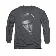 Elvis Presley Shirt True American Idol Long Sleeve Charcoal Tee T-Shirt