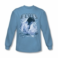 Elvis Presley Shirt Vegas Sparkles Long Sleeve Light Blue Tee T-Shirt