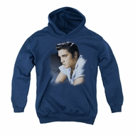 Elvis Presley Youth Hoodie Blue Profile Navy Kids Hoody