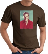 Elvis T-shirt - Classic Rock King Red Shirt Headshot - Adult Brown