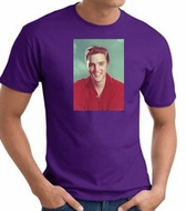 Elvis T-shirt - Classic Rock King Red Shirt Headshot - Adult Purple