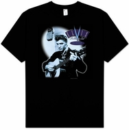 Elvis T-shirt Hillbilly Cat Classic 50s Pose Black Tee