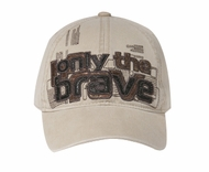 "Embroidered Hat - ""Only The Brave"" Lackpard Cap - Khaki"