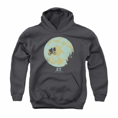 ET Shirts - Extra Terrestrial Hoodie Sweatshirt In The Moon Charcoal Adult Hoody Sweat Shirt
