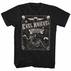 Evel Knievel Shirt All American Daredevil Black T-Shirt
