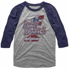 Evel Knievel Shirt Raglan Logo Number 1 Grey/Blue Shirt