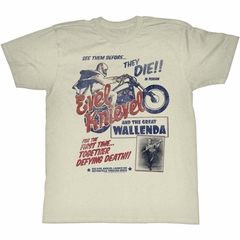 Evel Knievel Shirt Wallenda Natural T-Shirt