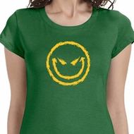 Evil Smiley Face Ladies Halloween Shirts