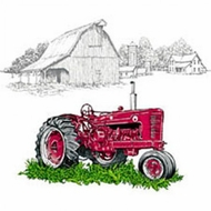 Farm Truck T-shirt - Red Truck on Farm Adult Tee Shirt