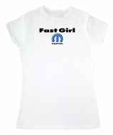 Fast Girl MOPAR Ladies Fitted White T-shirt Tee Shirt