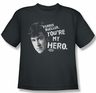 Ferris Bueller's Day Off Shirt Kids My Hero Charcoal Youth Tee T-Shirt