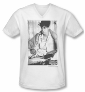 Ferris Bueller's Day Off Shirt Slim Fit V Neck Cameron White Tee T-Shirt