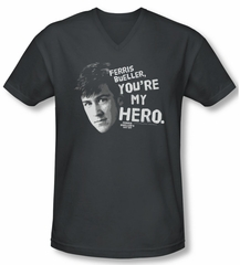 Ferris Bueller's Day Off Shirt Slim Fit V Neck My Hero Charcoal Tee T-Shirt