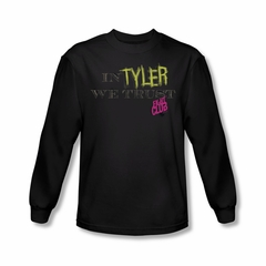 Fight Club Shirt In Tyler We Trust Long Sleeve Black Tee T-Shirt